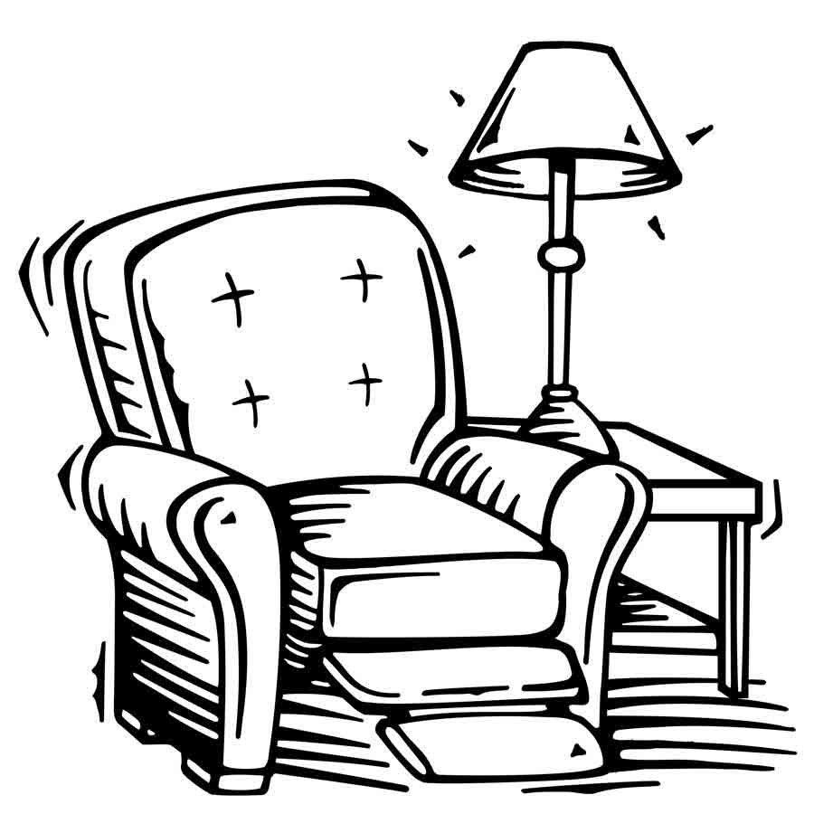 Imprimir dibujo para colorear de un sill n dibujos para for Cuarto ordenado animado