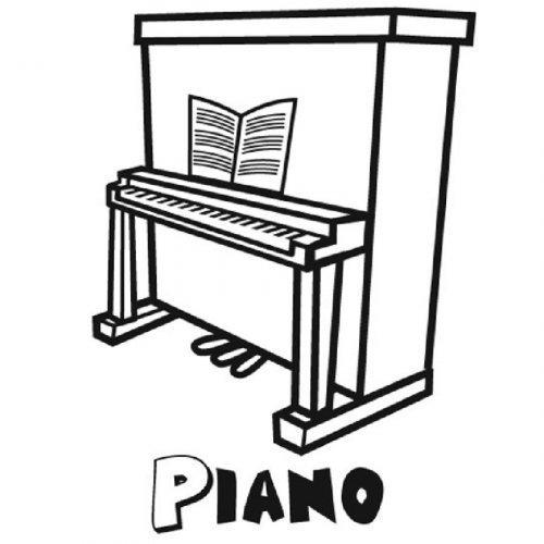 Dibujo de un piano para imprimir y colorear