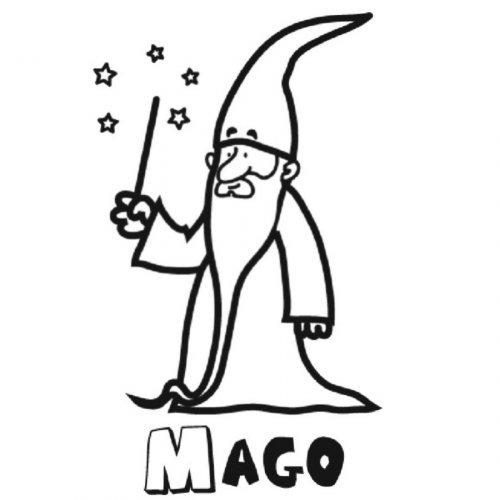 Dibujo para imprimir y pintar de un mago