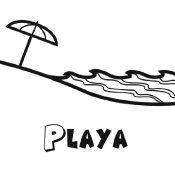 Dibujo para imprimir y colorear de una playa