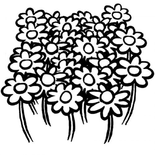 Dibujo de flores en la montaña para colorear