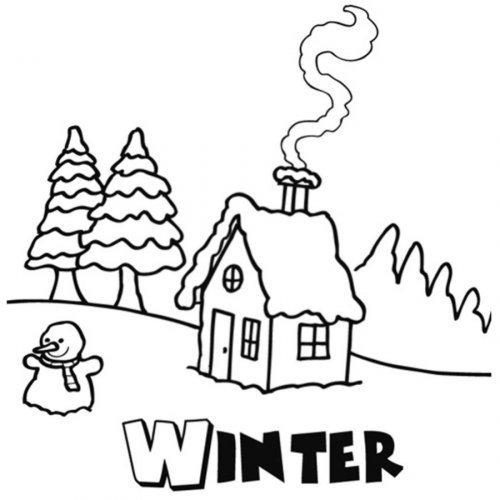 Dibujo de la estación de invierno para pintar