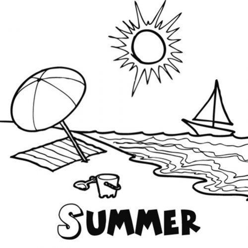 Dibujo de la estación de verano para imprimir y colorear
