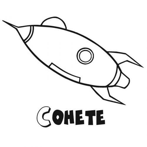 Dibujo para imprimir y colorear de un cohete dibujos - Dibujos infantiles del espacio ...