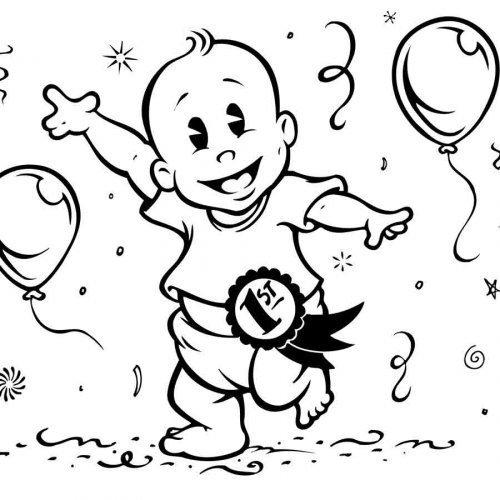Dibujo del cumpleaños del bebé para colorear