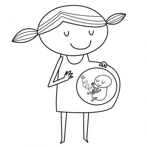 Dibujo para imprimir y pintar de una mamá embarazada y su bebé. Los