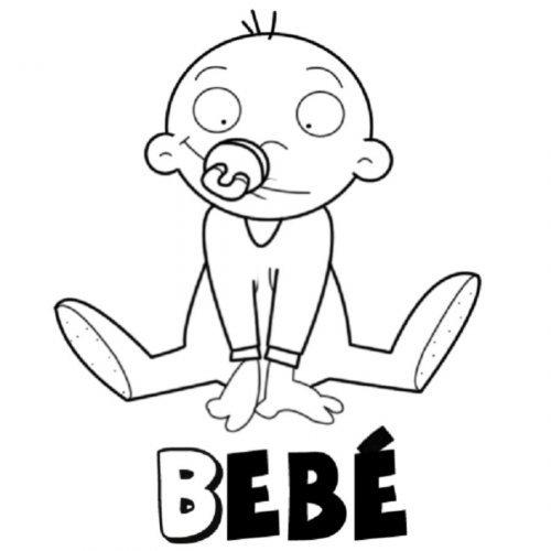 Dibujo de un bebés con su chupete para pintar - Dibujos para ...