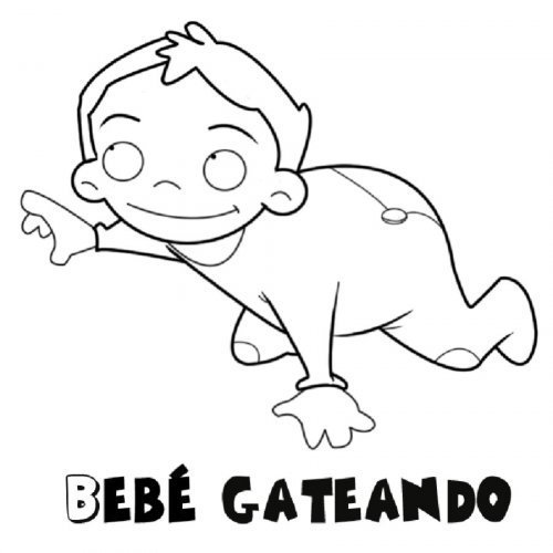 Dibujo para colorear de bebé gateando - Dibujos para colorear de bebés