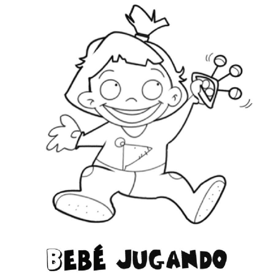 dibujo de un bebe jugando para imprimir y colorear