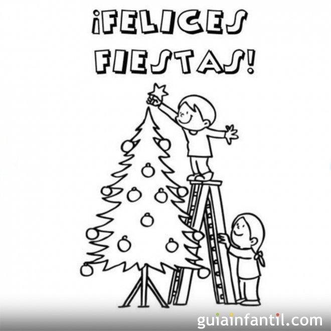 Felicitaci n navide a para colorear postales de navidad - Imagenes navidenas para colorear ...