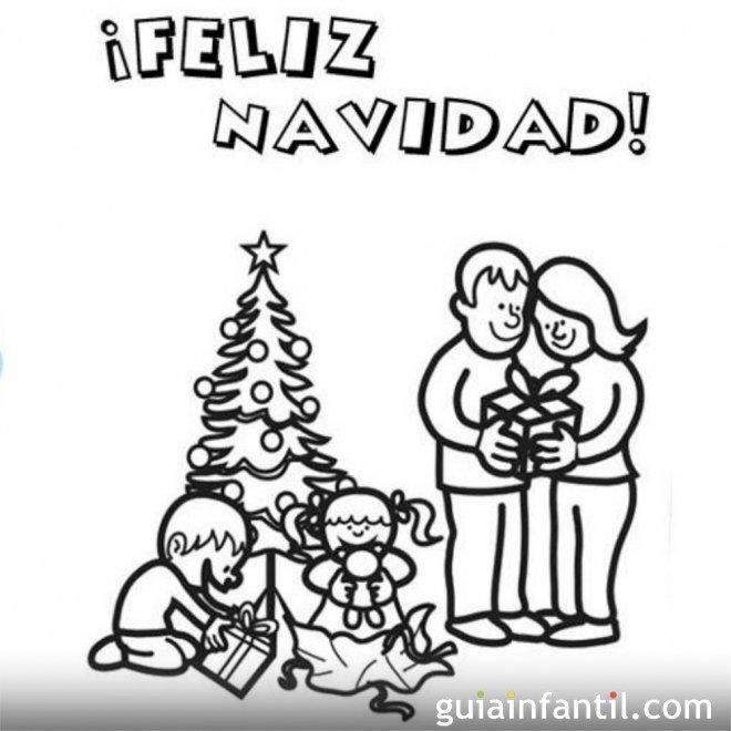 Felicitaci n de navidad para colorear para ni os postales de navidad para imprimir con dibujos - Dibujo de navidad para ninos ...