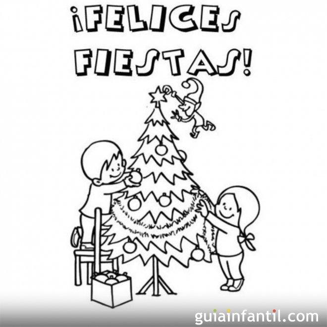 Postal con niños en el árbol de Navidad para colorear
