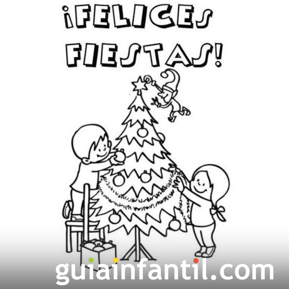 Imprimir postal con ni os en el rbol de navidad para - Postales de navidad con fotos de ninos ...