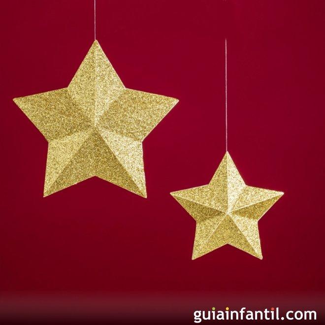 Estrellas de oro de navidad ideas para adornar el rbol - Ideas para decorar estrellas de navidad ...