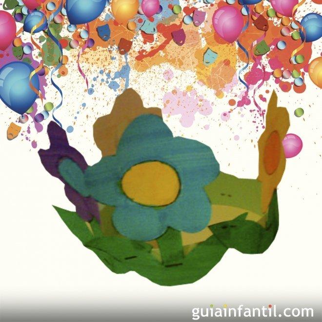 Corona de flores. Manualidades de Carnaval para niños
