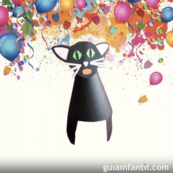 Gorro de gato. Manualidad de Carnaval para niños
