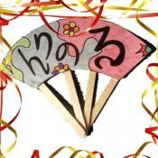 Abanico japonés. Manualidades infantiles de Carnaval
