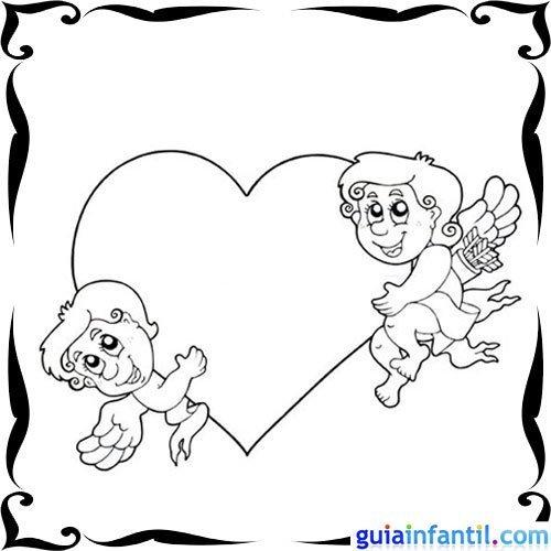Dibujo de angelitos con un corazón para niños