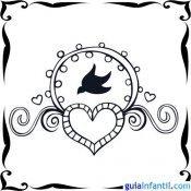 Dibujo de una paloma y un corazón para niños
