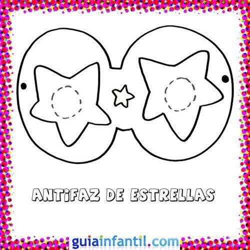 Antifaz de estrellas. Dibujos de Carnaval para niños