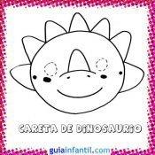 Careta de dinosaurio. Dibujos de Carnaval para niños