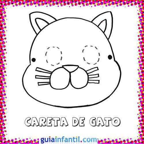 Careta de gato. Dibujos de Carnaval para niños