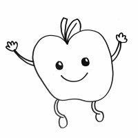 Imagen de una manzana. Dibujos para colorear con niños