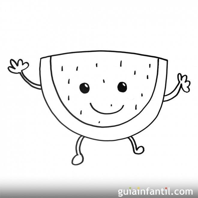 Imagen de una sandía. Dibujos para colorear con niños