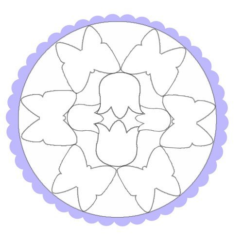 Dibujo de un mandala de mariposas para colorear