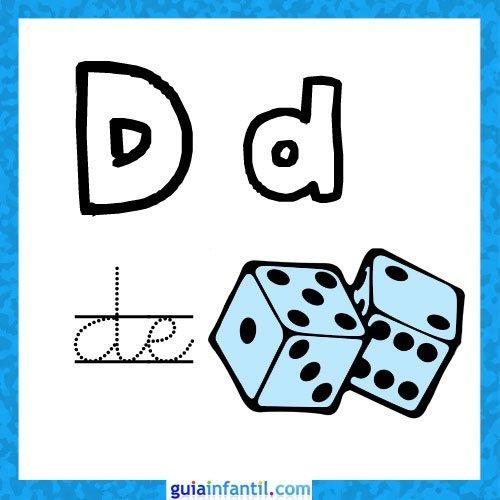 Imprimir Letra D. Fichas con el abecedario para niños ...