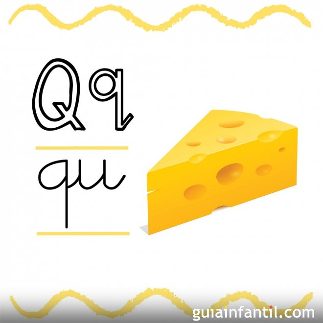 Letra Q. Fichas con el abecedario para niños