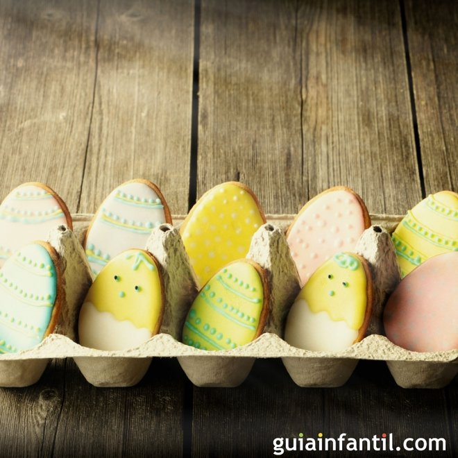 Galletas de Pascua decoradas. Galletas de huevos