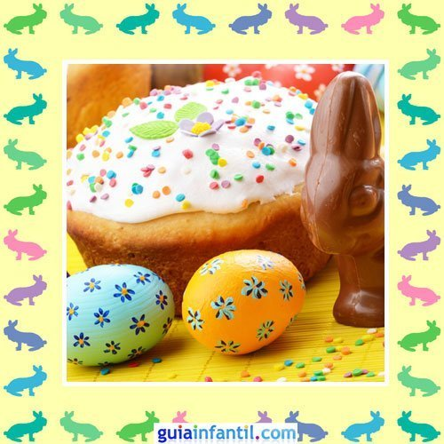 Tartas de Pascua decoradas. Pastel con nata y caramelos