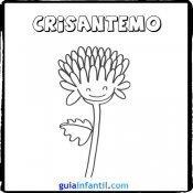 Dibujo de un crisantemo para pintar con los niños