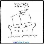 Dibujo de un navío para pintar con los niños