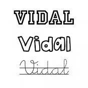 Dibujo del nombre Vidal para imprimir y pintar