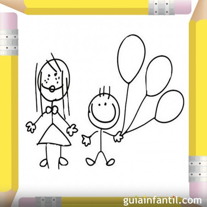 Niño y su mamá con globos. Dibujo para colorear el Día de la madre
