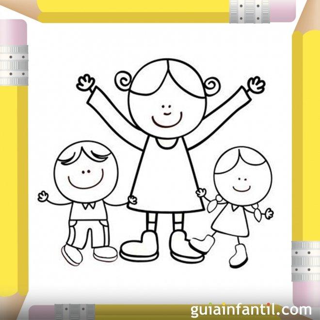 Mamá con sus hijos. Dibujos para colorear el Día de la Madre