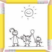 Mamá jugando con sus hijos. Dibujos para pintar el Día de la Madre