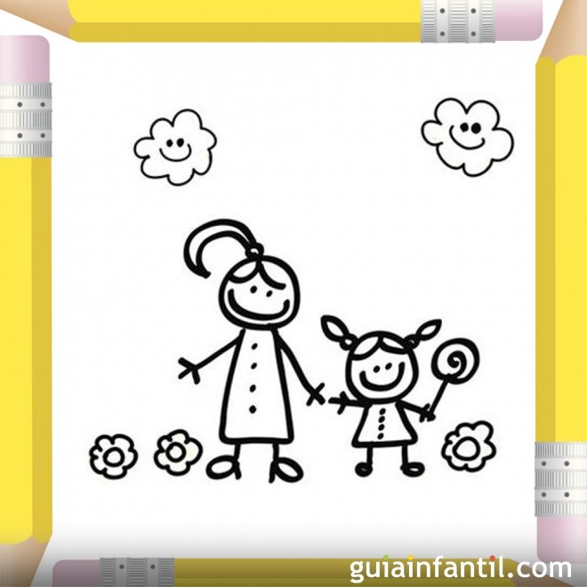 Niña con una piruleta. Dibujos para pintar el Día de la Madre