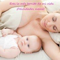 Postales para el Día de la Madre. Bebé durmiendo con su mamá