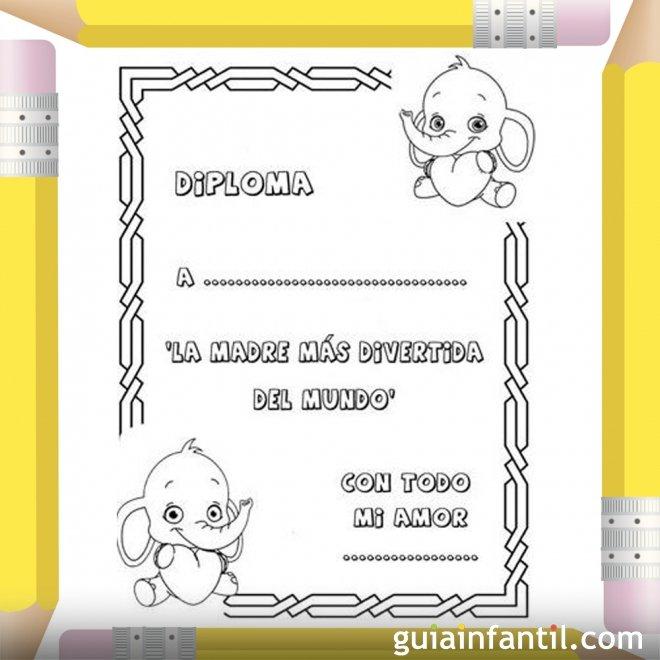 Diploma para la madre más divertida. Dibujos para colorear