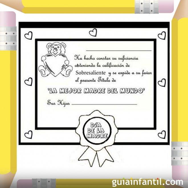 Diploma a la mejor madre. Dibujos para colorear - Diplomas Día de la