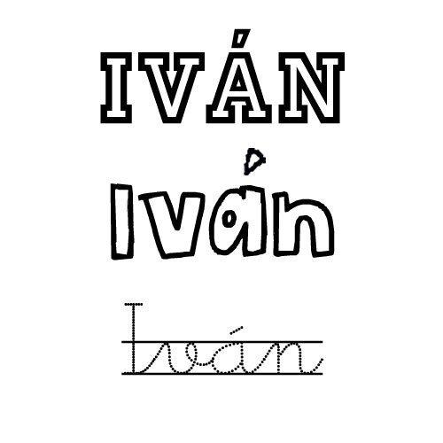Dibujo del nombre para niños Iván