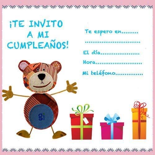 Invitaciones del Oso Traposo para fiestas de cumpleaños infantiles