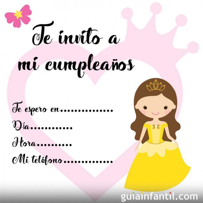 Invitación de cumpleaños con dibujos de princesas
