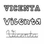 Dibujo del nombre Vicenta para pintar
