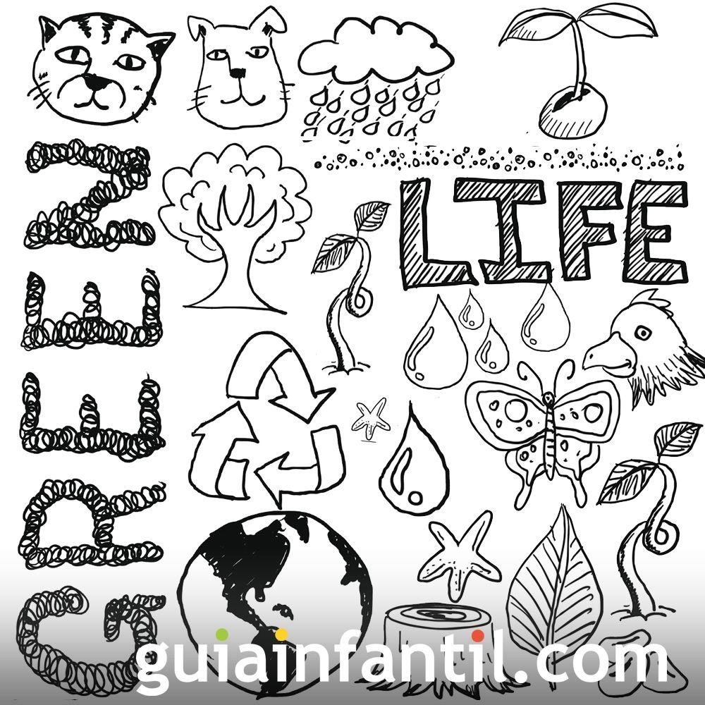 naturaleza - Dibujos para colorear con los niños del medio ambiente