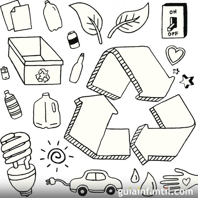 Dibujo para colorear con los niños sobre el reciclaje - Dibujos