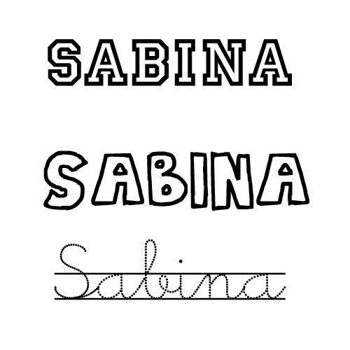 Dibujo del nombre Sabina para colorear